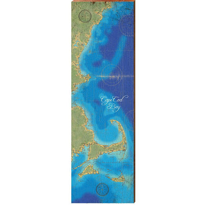 Cape Cod Bay and Surrounding Areas, Massachusetts Topographical Styled Chart-Mill Wood Art