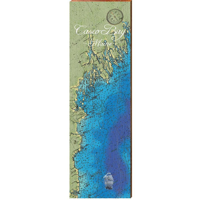 Casco Bay, Maine Topographical Styled Chart-Mill Wood Art