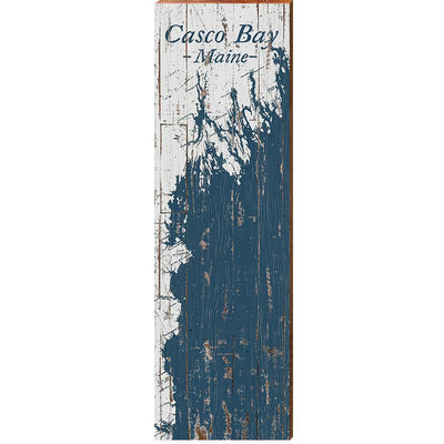 Casco Bay, Maine Navy & White Shabby Styled Map Wall Art-Mill Wood Art