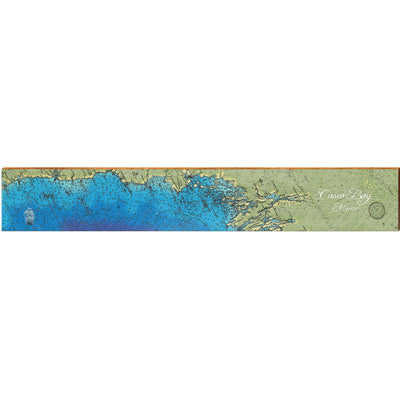 Casco Bay, Maine Satellite Styled Map Wall Art-Mill Wood Art