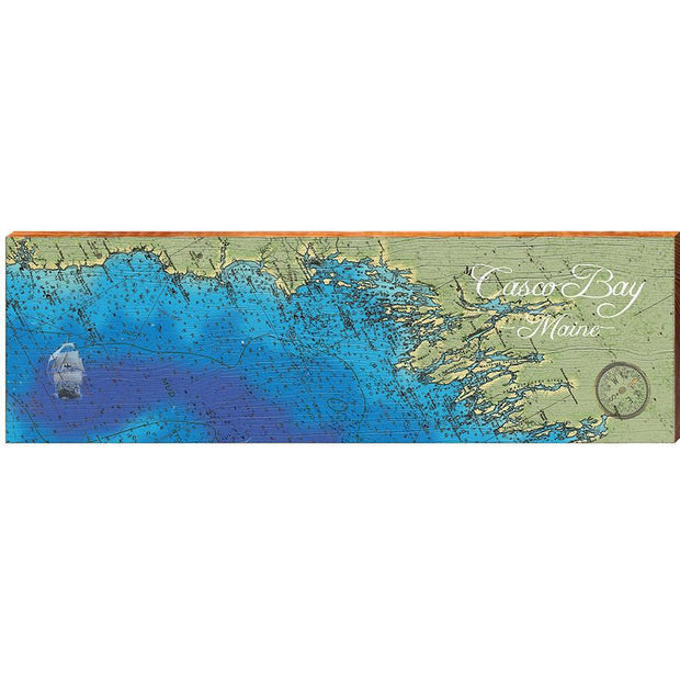 Casco Bay, Maine Satellite Map Wall Art-Mill Wood Art