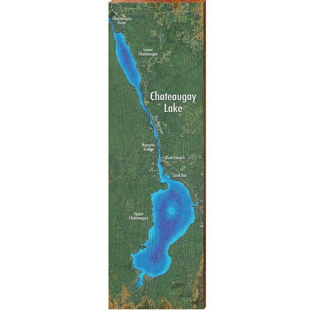 Chateaugay Lake, New York Satellite Map Wall Art-Mill Wood Art