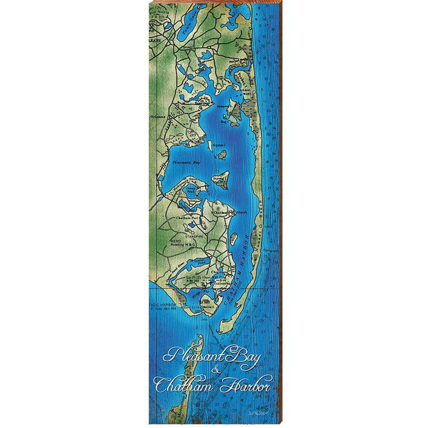 Pleasant Bay & Chatham Harbor, Massachusetts Topographical Styled Chart-Mill Wood Art