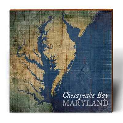 Chesapeake Bay, Maryland Shabby Styled Map Square Wall Art-Mill Wood Art