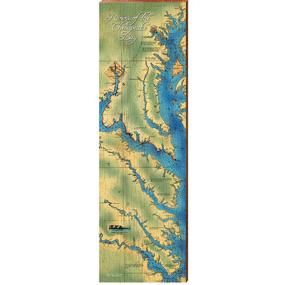 Rivers of the Chesapeake Bay Topographical Map Wall Art-Mill Wood Art
