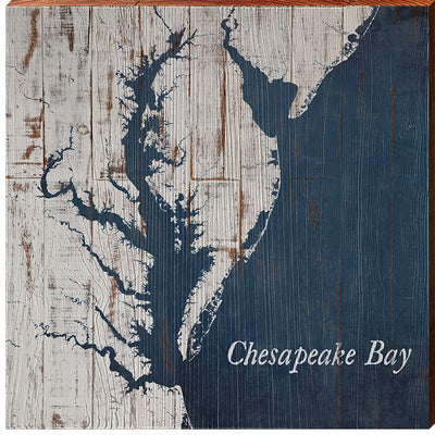 The Chesapeake Bay Navy & White Shabby Map Square Wall Art-Mill Wood Art