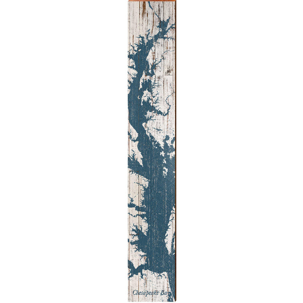 "The Chesapeake Bay Navy & White Shabby Map Large | Size: 9.5"" x 60"" Wall Art-Mill Wood Art"