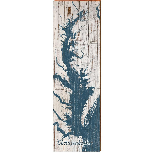 The Chesapeake Bay Navy & White Shabby Map Wall Art-Mill Wood Art