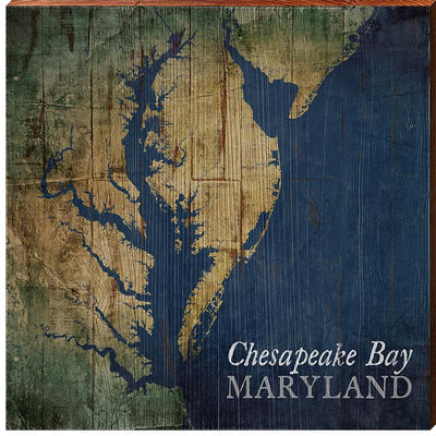 The Chesapeake Bay Shabby Styled Map Square Wall Art-Mill Wood Art