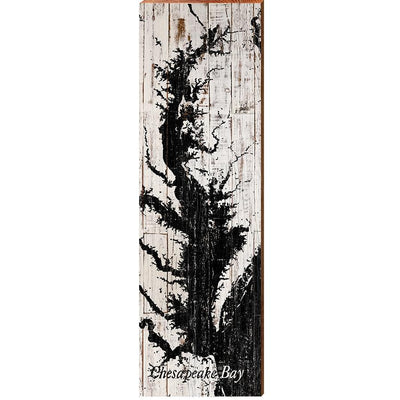Chesapeake Bay Black & White Shabby Map Wall Art-Mill Wood Art