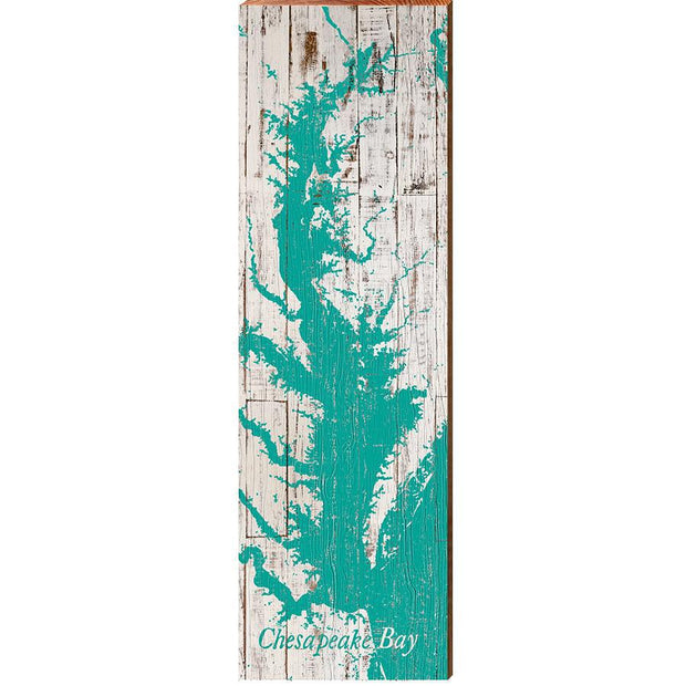 The Chesapeake Bay Teal & White Shabby Map Wall Art-Mill Wood Art