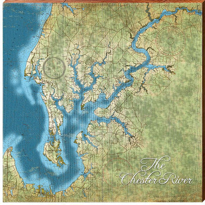 Chester River, Maryland Topographical Map Wall Art-Mill Wood Art