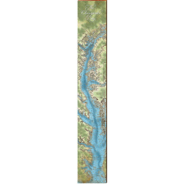 "The Chesapeake Bay Animated Topographical Map Large | Size: 9.5"" x 60"" Wall Art-Mill Wood Art"