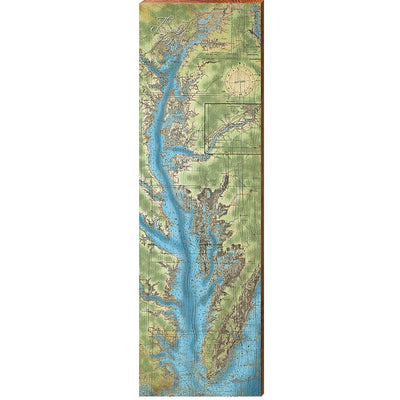 The Chesapeake Bay Animated Topographical Map Wall Art-Mill Wood Art