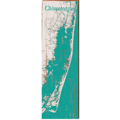 Chincoteague, Virginia Teal & White Shabby Map Wall Art Wall Art-Mill Wood Art