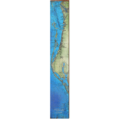 "Clearwater Beach, Florida Topographical Styled Map Large | Size: 9.5"" x 60"" Wall Art-Mill Wood Art"