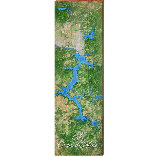Lake Coeur d'Alene, Idaho Satellite Styled Map Wall Art-Mill Wood Art