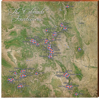 The Colorado Fourteeners Satellite Styled Map Wall Art-Mill Wood Art