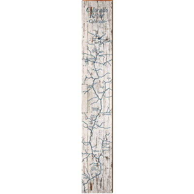 "The Colorado River Navy & White Shabby Styled Map Large | Size: 9.5"" x 60"" Wall Art-Mill Wood Art"