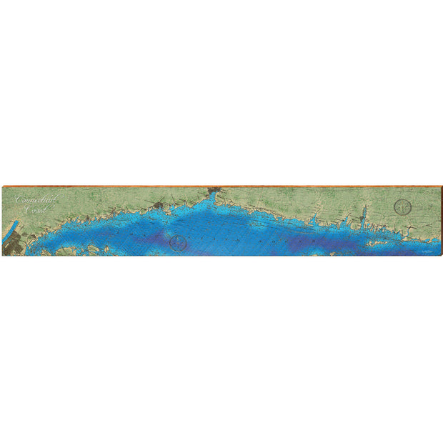 "Connecticut Coastline Topographical Styled Map Large | Size: 9.5"" x 60"" Wall Art-Mill Wood Art"