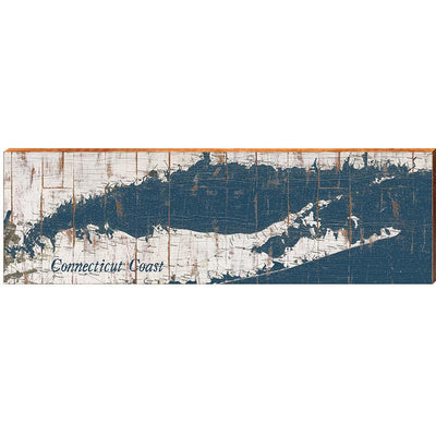 Connecticut Coastline Navy & White Shabby Styled Map Large Wall Art-Mill Wood Art