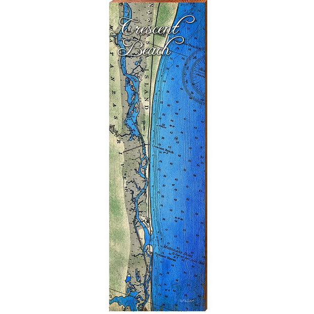 Crescent Beach, Florida Topographical Styled Map Wall Art-Mill Wood Art