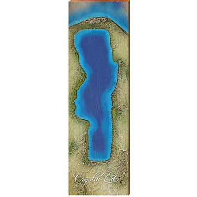 Crystal Lake, Michigan Satellite Styled Map Vertical Wall Art-Mill Wood Art