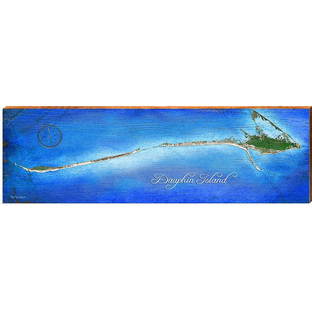 Dauphin Island, Alabama Satellite Map Wall Art-Mill Wood Art