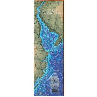Delaware Bay Topographical Styled Map Wall Art-Mill Wood Art