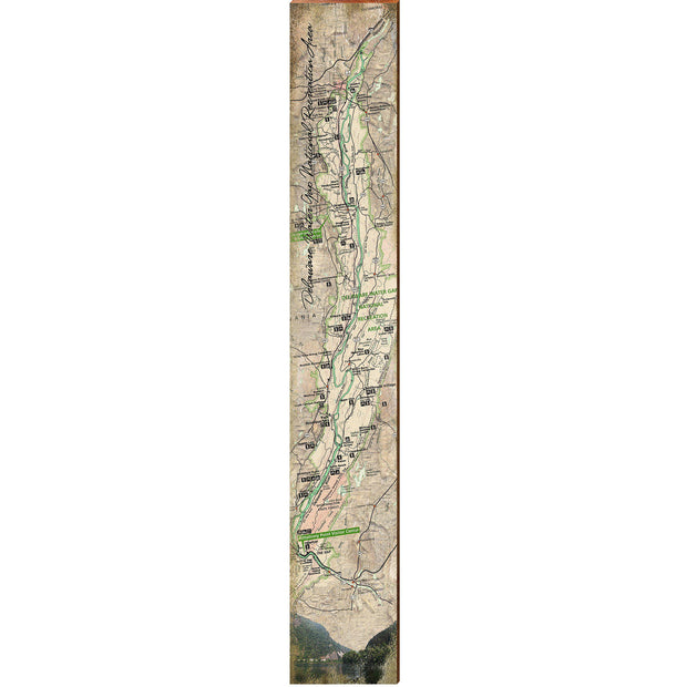"Delaware Water Gap National Recreation Area Topographical Styled Map Large | Size: 9.5"" x 60"" Wall Art-Mill Wood Art"