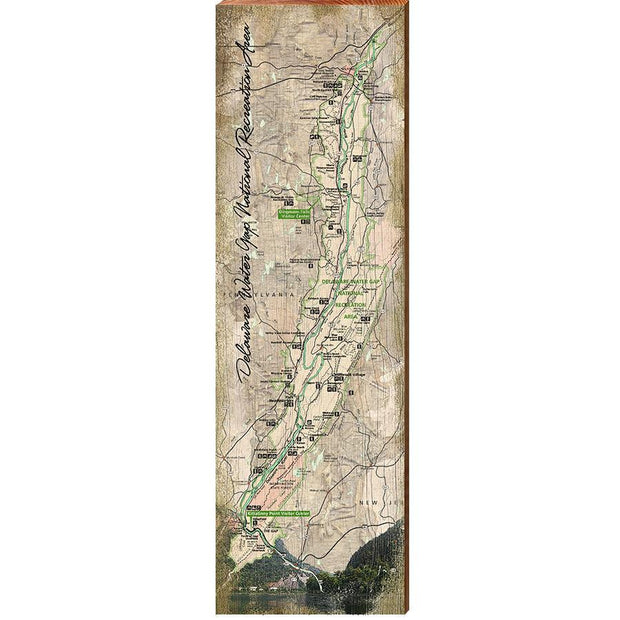 Delaware Water Gap National Recreation Area Topographical Styled Map Wall Art-Mill Wood Art