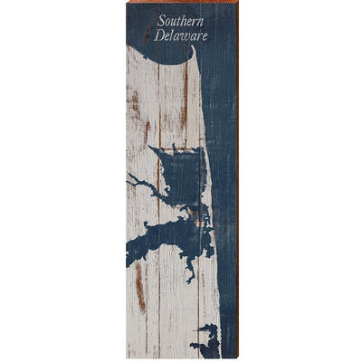 Southern Delaware Navy & White Shabby Styled Map Wall Art-Mill Wood Art