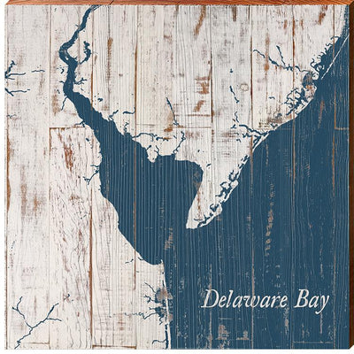 Delaware Bay Navy & White Shabby Styled Map Square Wall Art-Mill Wood Art