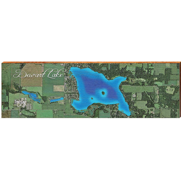 Dewart Lake, Indiana Satellite Styled Map Wall Art-Mill Wood Art