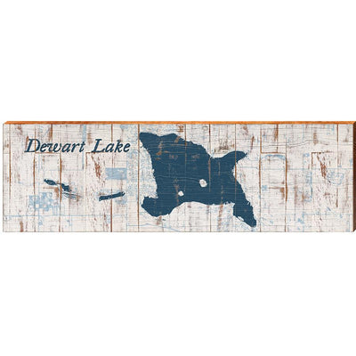 Dewart Lake, Indiana Navy & White Shabby Styled Map Wall Art-Mill Wood Art