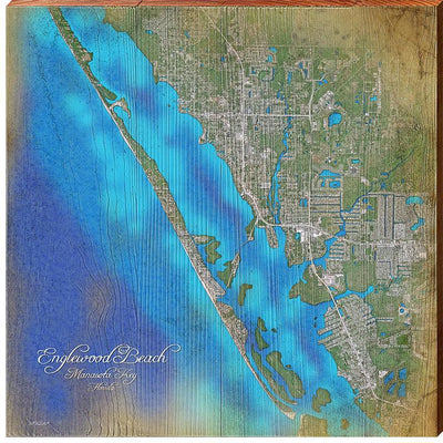 Englewood Beach & Manasota Key, Florida Satellite Styled Map Square Wall Art-Mill Wood Art