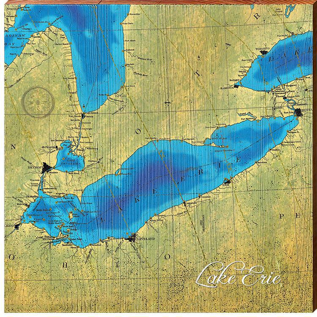 Lake Erie Topographical Styled Chart Square-Mill Wood Art