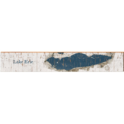 "Lake Erie Navy & White Shabby Styled Chart Large | Size: 9.5"" x 60""-Mill Wood Art"