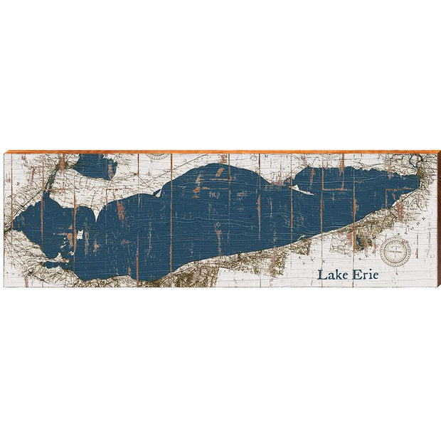 Lake Erie Navy & White Shabby Styled Chart-Mill Wood Art