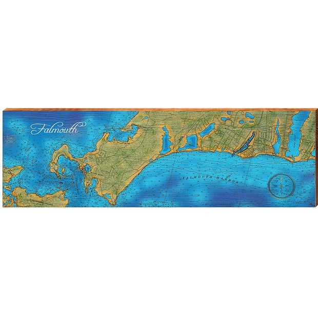 Falmouth, Massachusetts Topographical Styled Chart Horizontal-Mill Wood Art