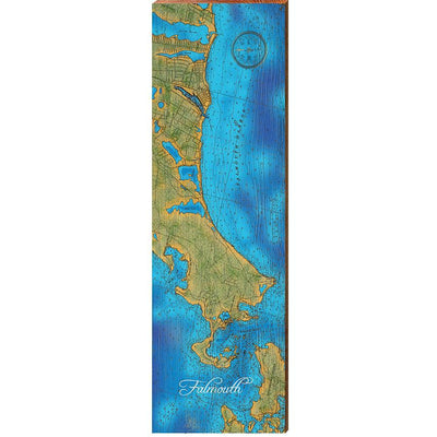 Falmouth, Massachusetts Topographical Styled Chart Horizontal Vertical-Mill Wood Art