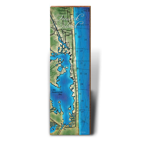 Fenwick Island, Delaware Topographical Styled Map Wall Art-Mill Wood Art