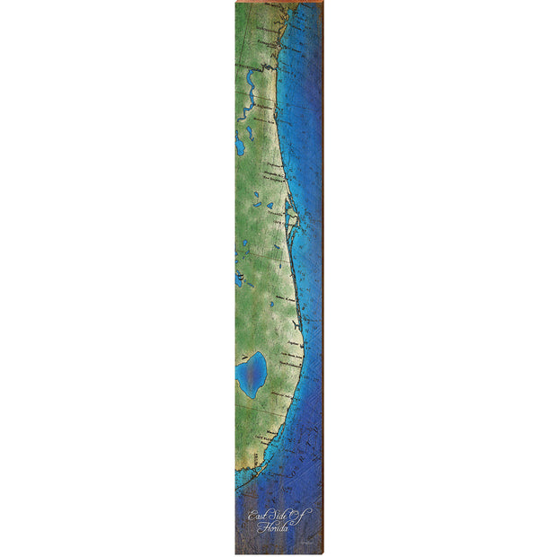 "East Side Of Florida Topographical Styled Map Large | Size: 9.5"" x 60"" Wall Art-Mill Wood Art"
