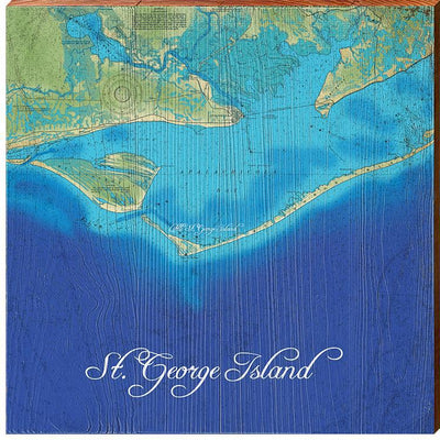 St. George Island, Florida Topographical Map Wall Art-Mill Wood Art