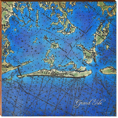Grand Isle, Louisiana Topographical Styled Map Square Wall Art-Mill Wood Art