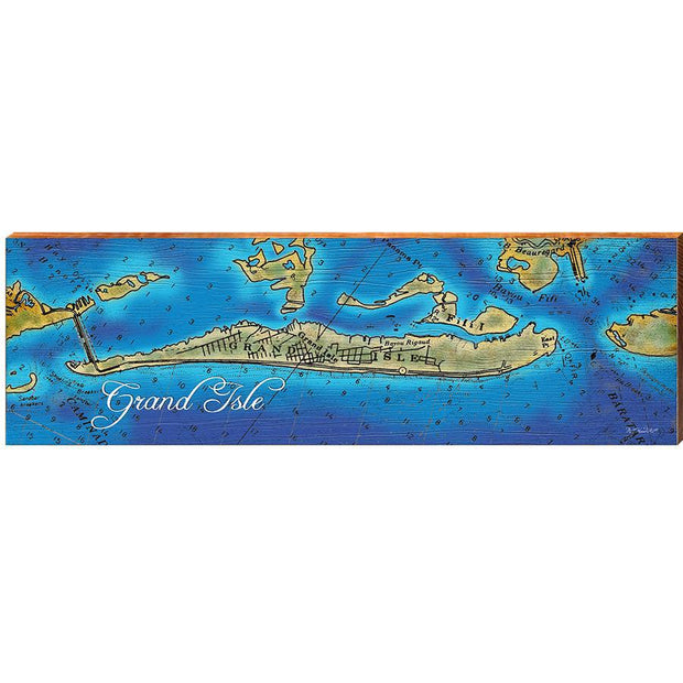 Grand Isle, Louisiana Topographical Styled Map Horizontal Wall Art-Mill Wood Art
