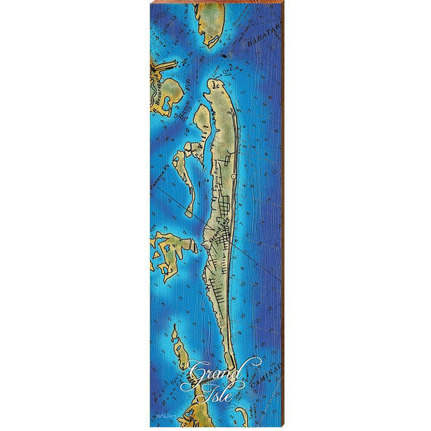 Grand Isle, Louisiana Topographical Styled Map Vertical Wall Art-Mill Wood Art