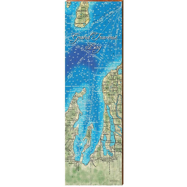 Grand Traverse Bay, Michigan Topographical Styled Chart-Mill Wood Art