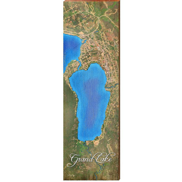 Grand Lake, Colorado Satellite Styled Map Wall Art-Mill Wood Art