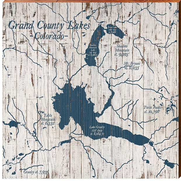 Grand County, Colorado Lakes Navy & White Shabby Styled Map Square Wall Art-Mill Wood Art